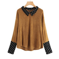SHEIN Contrast Polka Dot Collar and Cuff Tee Brown Womens Long Sleeve Tops Autumn Lapel Color Block Casual T-shirt - ibspot