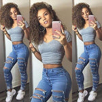 US Stock Women Denim Ripped Pants High Waist Stretch Jeans Slim Pencil Trousers - ibspot