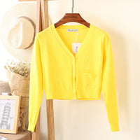 New Arrival Spring and Autumn Knitted Cardigan Short Coat Casual V-Neck Long Sleeve Cardigans Sweater Thin Coat Female Tops - ibspot