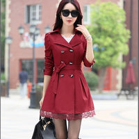 Women Trench Coat 2018 Plus Size Lace Thin Double-breasted Coat Women Winter Outerwear Clothing 5 Colors TR004 - ibspot