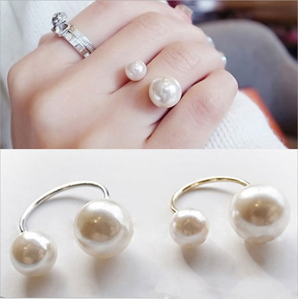 Hot Fashion women's Ring Street Shoot Accessories Imitation Pearl Size Adjustable Ring - ibspot