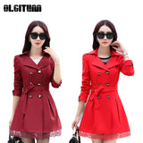 Women Trench Coat 2018 Plus Size Lace Thin Double-breasted Coat Women Winter Outerwear Clothing 5 Colors TR004