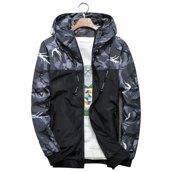 Men Thin Slim Long Sleeve Camouflage Military Bomber Jackets with Hood - ibspot