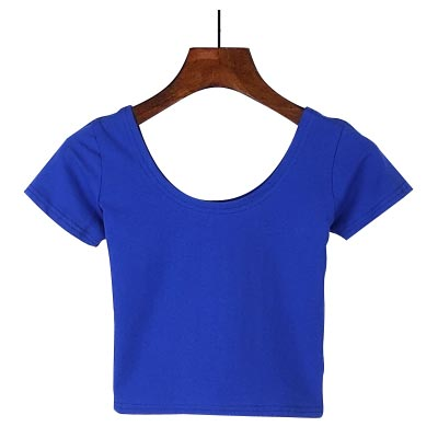 Women U neck Sexy Crop Top Ladies Short Sleeve T Shirt with Basic Stretch T-shirts - ibspot