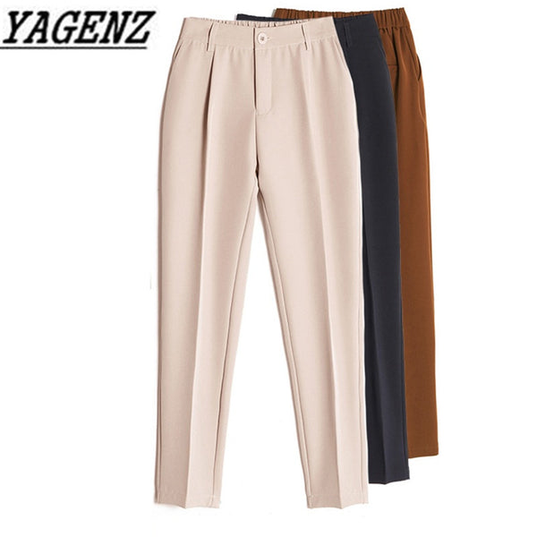 Women's Casual Harem pants Spring Summer Fashion Loose Ankle-length Trousers Female Classic High Elastic Waist Black Camel Beige - ibspot
