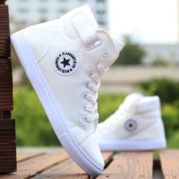 Men Fashion Sneakers High-top Canvas Shoes with Lace-up High Style Solid Color - ibspot