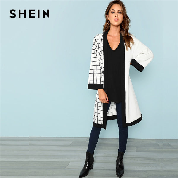 SHEIN Multicolor Highstreet Office Lady Cut And Sew Grid Print Long Sleeve Minimalist Coat 2018 Autumn Women Outerwear Clothes