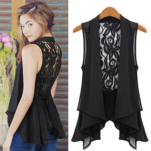 Women Summer Fashion Medium Vest Lace Back Sleeveless Pleated Hem Blouse Jacket - ibspot