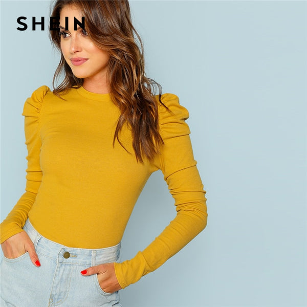 SHEIN Mustard Elegant Minimalist Puff Sleeve Rib Knit Solid Pullovers Slim Fit Tee 2018 Autumn Office Lady Women T-shirt Top