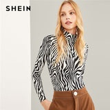 SHEIN Black And White Highstreet High Neck Zebra Print Pullovers Long Sleeve Tee 2018 Autumn Workwear Women T-shirt And Tops