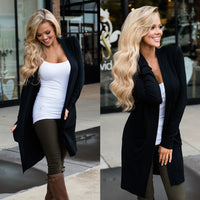 Cardigan Women Long Sleeve New Female Elegant Pocket Knitted Outerwear Sweater High Quality - ibspot