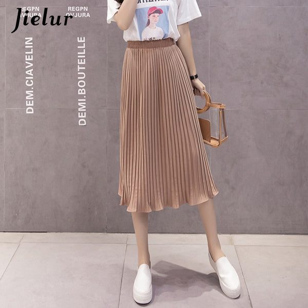Jielur 6 Solid Color Korean Fashion Summer Skirt Female Simple Slim High Waist Skirts Womens S-XL Harajuku Faldas Mujer Dropship