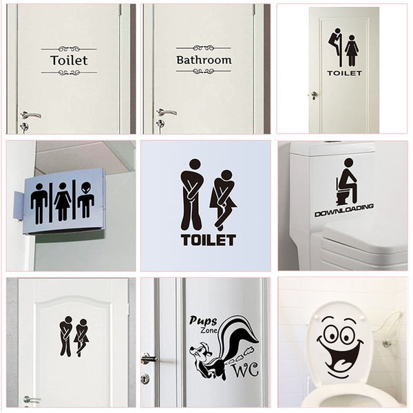 WC Toilet Entrance Sign Door Stickers For Public Place Home Decoration Creative Pattern Wall Decals Diy Funny Vinyl Mural Art - ibspot