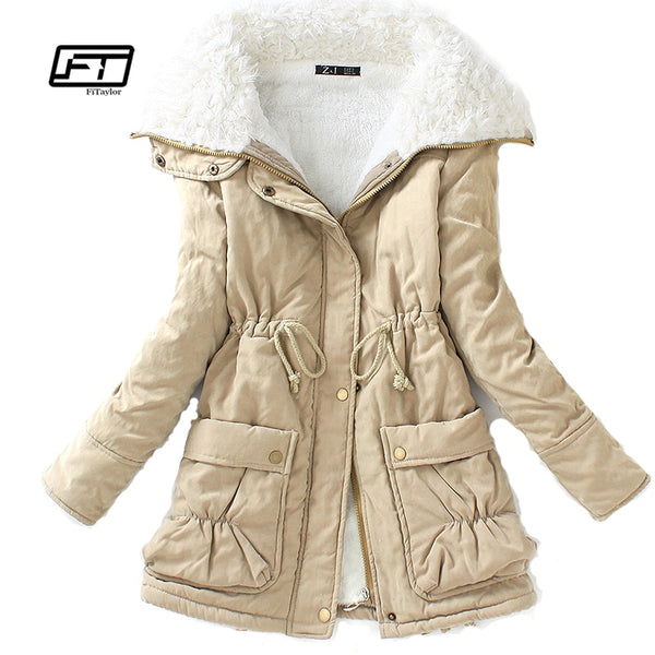 Fitaylor Winter Cotton Coat Women Slim Snow Outwear Medium-long Wadded Jacket Thick Cotton Padded Warm Cotton Parkas - ibspot