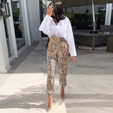 women snakeskin print pencil pants animal pattern elastic waist drawstring tie ankle length trousers pantalones mujer