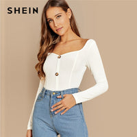 SHEIN White Office Lady Button Front Ribbed Knit  Deep V Neck Pullovers Tee Autumn Modern Lady Workwear Women Tshirt Top