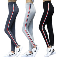 Women High Waist Pencil Pants Side Stripes Casual Cotton Leggings Plus Size 5XL Fitness High Elastic Slim Trousers Female - ibspot