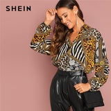 SHEIN Going Out Multicolor Ornate Print Collar Long Sleeve Shirt Pullovers Top Autumn Modern Lady Women Tops And Blouses - ibspot
