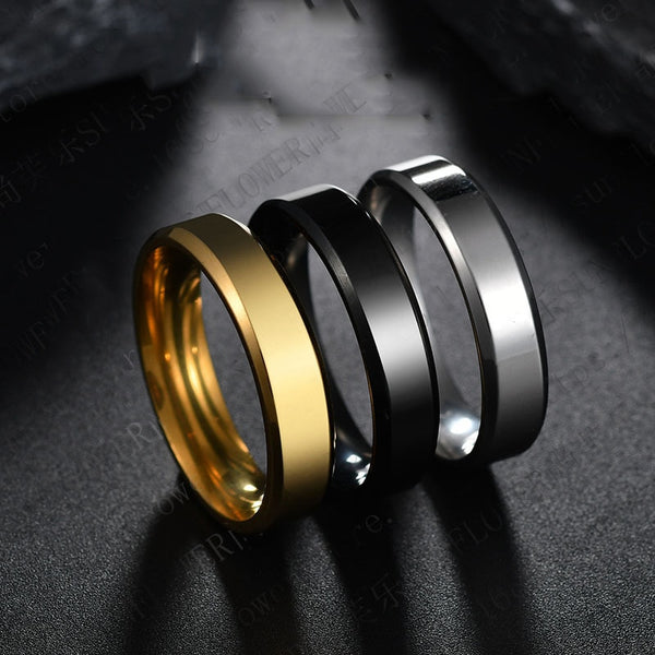 Men/Women 6mm Titanium Steel Black Finger Rings Set with Silver Plated Ring - ibspot