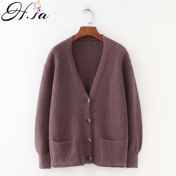 Women V neck Solid Loose Single Breasted Casual Knit Cardigan - ibspot