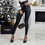 InstaHot Gold Black Belt High Waist Pencil Pant Women Faux Leather PU Sashes Long Trousers Casual Sexy Exclusive Design Fashion - ibspot