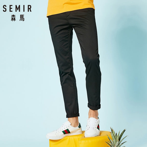 New casual pants men brand-clothing simple solid trousers male high quality stretch slim fit pants for fall