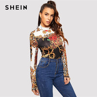 SHEIN Mock Neck Stand Collar Chain Print Multicolor Slim Fit Tee 2019 Spring Casual Women Modern Lady Long Sleeve Tshirt Top - ibspot
