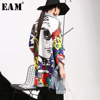 [EAM] 2019 New Spring Lapel Printed Cowboy Split Joint Loose Long Big Size Denim Jacket Women Coat Fashion Tide W0145 - ibspot