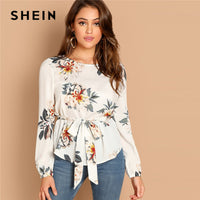 SHEIN White Flower Print Belted Top Puff Shoulder Long Sleeve Round Neck Blouse Women Casual 2019 Spring Tops and Blouses - ibspot