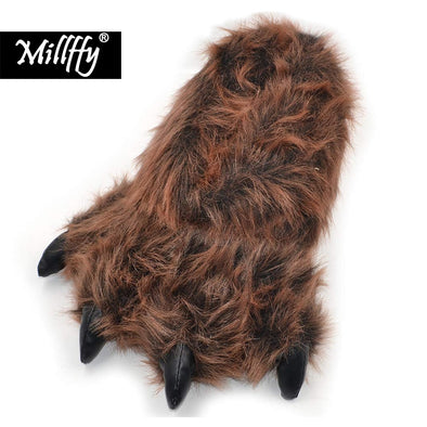 Millffy Funny Grizzly Bear Claw Paw  Indoor Slippers