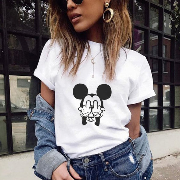 Women Mouse Text Printing T-shirt Plus Size Street Wear - ibspot