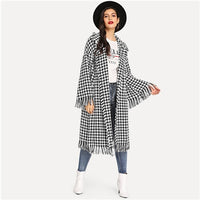 SHEIN Black and White Houndstooth Shawl Collar Bell Sleeve Fringe Detail Houndstooth Coat Autumn Highstreet Women Coat Outerwear - ibspot