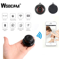 Wsdcam Mini Wireless Home Surveillance WIFI 1080P IP Camera Infrared Night Vision, Motion Detection, SD Card Slot, Audio APP