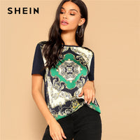 SHEIN Retro Multicolor Scarf Print Mixed Media Top Round Neck Short Sleeve Tee Tshirt Women Summer Streetwear Vintage T-shirts - ibspot