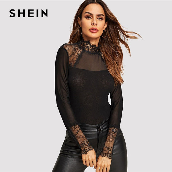 SHEIN Black Eyelash Lace Trim Form Long Sleeve Sexy Skinny Tee Modern Lady Mesh See Through Stand Collar T Shirt Ladies Tops