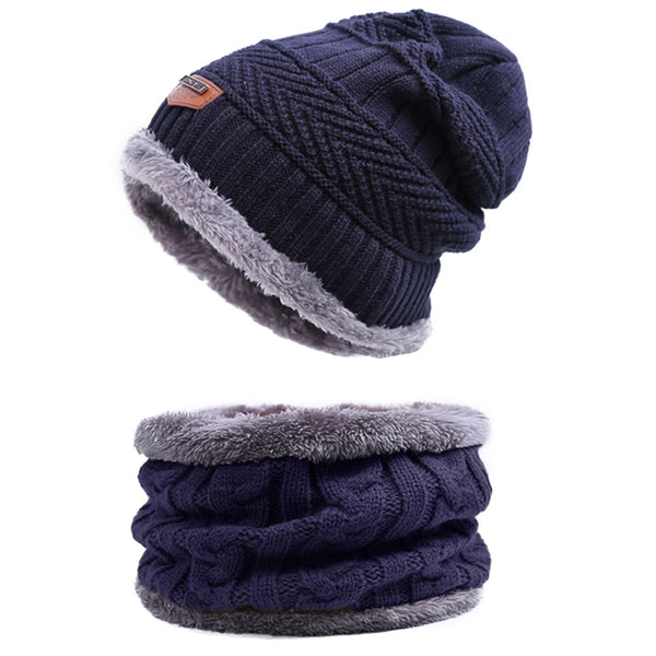 URDIAMOND Winter Outdoor Men Warm Wool Knitting Hat & Scarf Set - ibspot