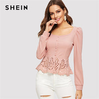SHEIN Pink Button up Hollow out Square Collar Peplum Hem Puff Sleeve Blouse Women Tops and Blouses Spring Elegant Slim Fit Top - ibspot