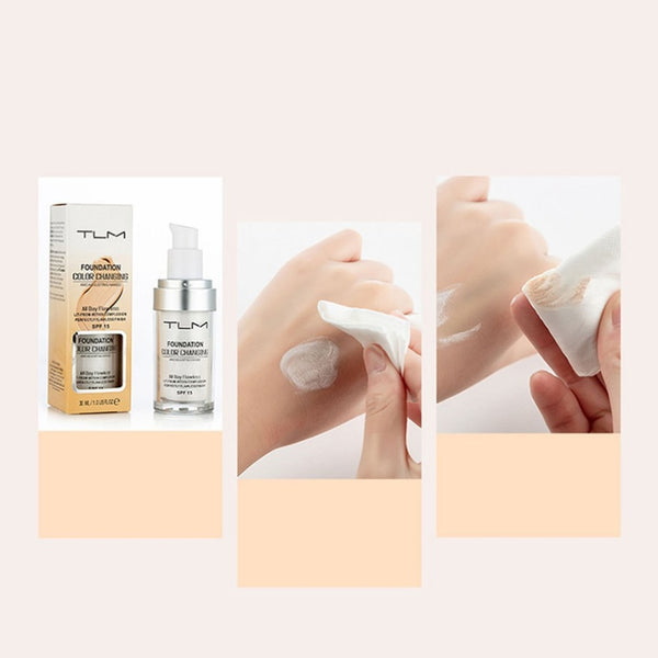 Pro Color Changing Foundation Makeup Base Nude Face Liquid Cover Concealer Longlasting Makeup Gift sombras Skin care Foundation