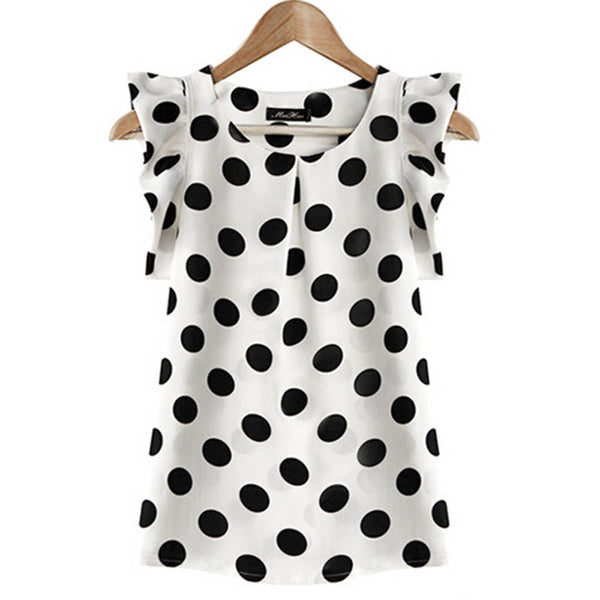 Fashion  Girl Dots Blouse Women Casual Chiffon Shirt Sleeveless Ruffle Sleeve Shirt Summer Tops Black White - ibspot