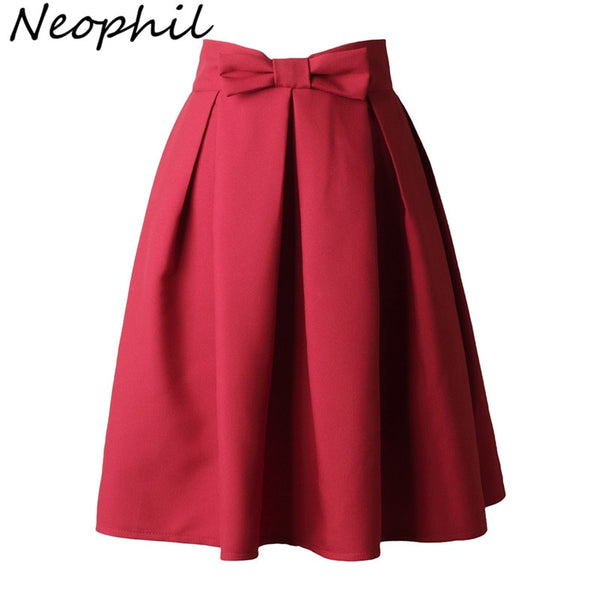 Neophi 2019 Causual Bow Pleated Women Skater Skirts Knee Length Summer High Waist Ladies Solid Black Ball Gown Saia S-XXL S8423 - ibspot