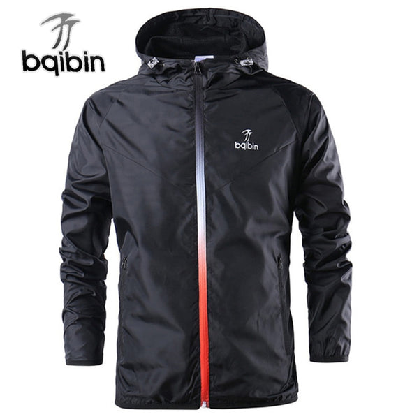 Mens Outerwear Windbreaker Thin Jackets with Hood Casual Sporting Coat Big Size