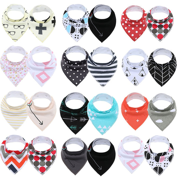[2 Pcs] Super Absorbent Extra Soft Cotton Baby Drool Bib for Drooling and Teething