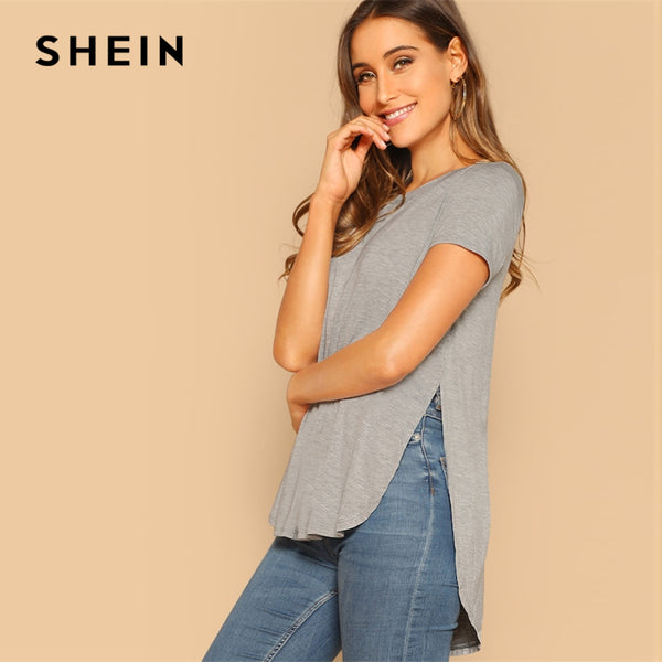SHEIN Grey Solid Slit Curved Hem Asymmetrical Short Sleeve Plain Top Tee 2019 Summer Short Sleeve Women T-shirt Tops
