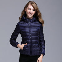 Women White Duck Down Jacket Autumn Female Ultra Light Down Jackets Slim Solid Long Sleeve Hooded Parkas Candy Color - ibspot