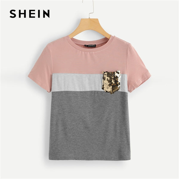 SHEIN Multicolor Color Block Cut and Sew Sequin Pocket T Shirt Women Short Sleeve Casual Tee Summer Workwear Top T-shirts - ibspot