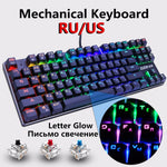 Wired Mechanical Gaming Keyboard with 87 keys and Blue Red Switch, Anti-ghosting, RGB/Mix LED Backlit - ibspot
