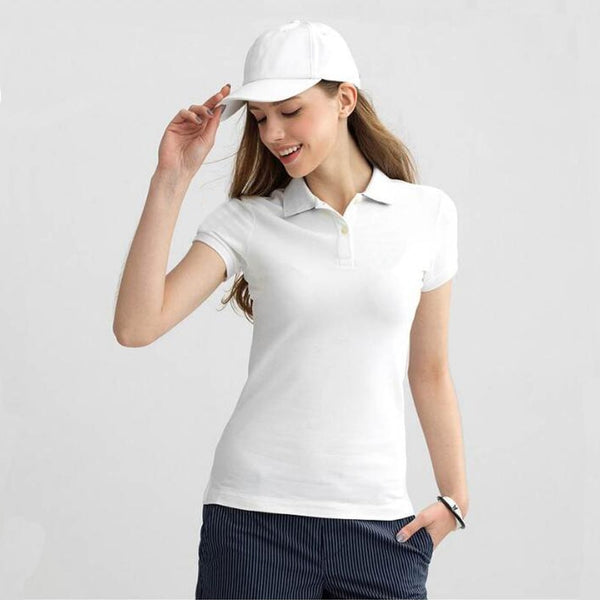 2019 Summer Fashion Polo Shirt Women New Casual Short Sleeve Slim Polos Mujer Shirts Tops Plus Size Female Cotton Polo Shirt