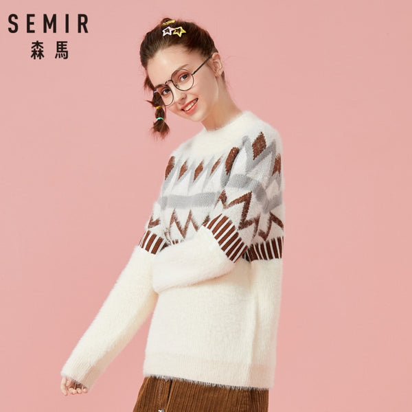 SEMIR Women Fair Isle Fluffy Jacquard-knit Sweater Pullover Sweater Ribbing at Crewneck Cuff and Hem in Cozy Style for Winter - ibspot