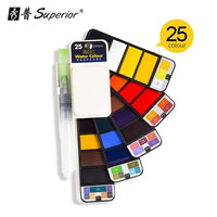 Superior 18/25/33/42 Solid Watercolor Paint Set with Water Brush Pen