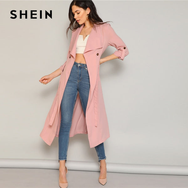 SHEIN Pastel Pink Draped Collar Rolled Tab Sleeve Trench Coat Women Double Buttoned Outerwear Spring 2019 Elegant Long Coats - ibspot